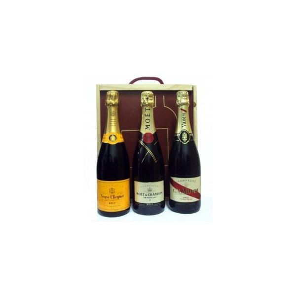 Caja Madera Regalo 3 Bot. Champagnes