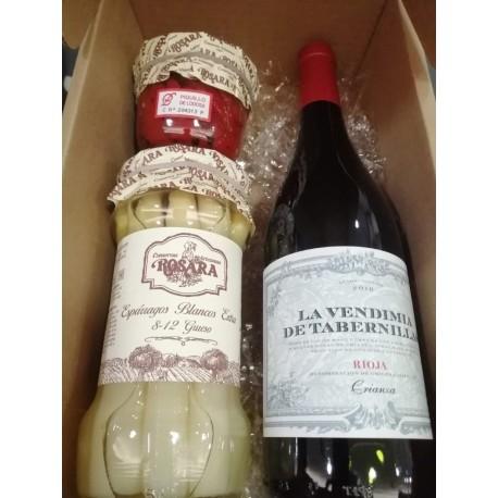 Caja con Vino, Esparragos y  Pimientos Piquillo para Regalo