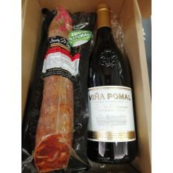 Caja con Vino y Chorizo Ibérico Bellota para Regalo